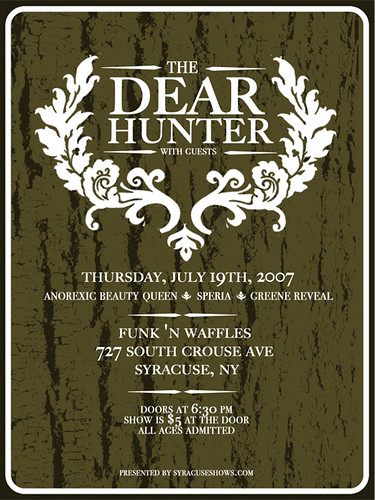 the dear hunter concert poster concert poster supergnarlyindustries flickr. Black Bedroom Furniture Sets. Home Design Ideas