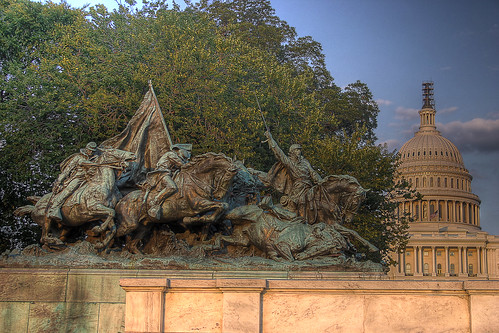 Statue In Front Of The United States Capital Building Hdr