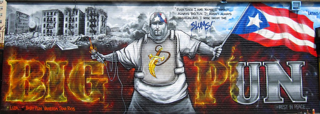 Big pun r i p close up of big pun 2010 memorial wall for Big pun mural bronx
