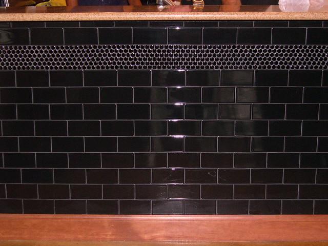 backsplash and bar black subway tile with penny tile