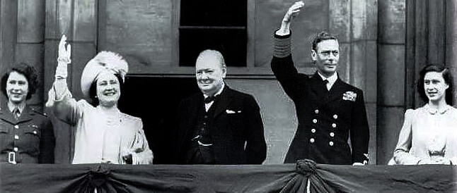 King George VI and Queen Elizabeth, Churchill, and Princesses Elizabeth and Margaret on the victory of WW II