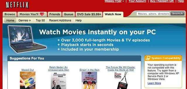 "Netflix ""watch now"" is WindowsXP only :-( - Wesley Fryer - Flickr"