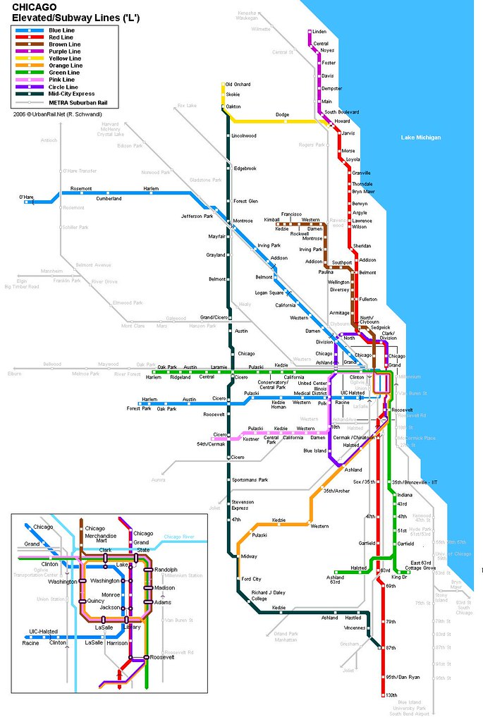 Chicago Rail My Attempt At Creating A Map Of What Chi Flickr - Chicago brown line map
