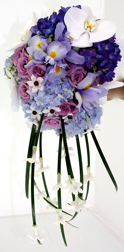 wedding flowers bouquets 2 purple and blue bridal bouquet designed for a 9544
