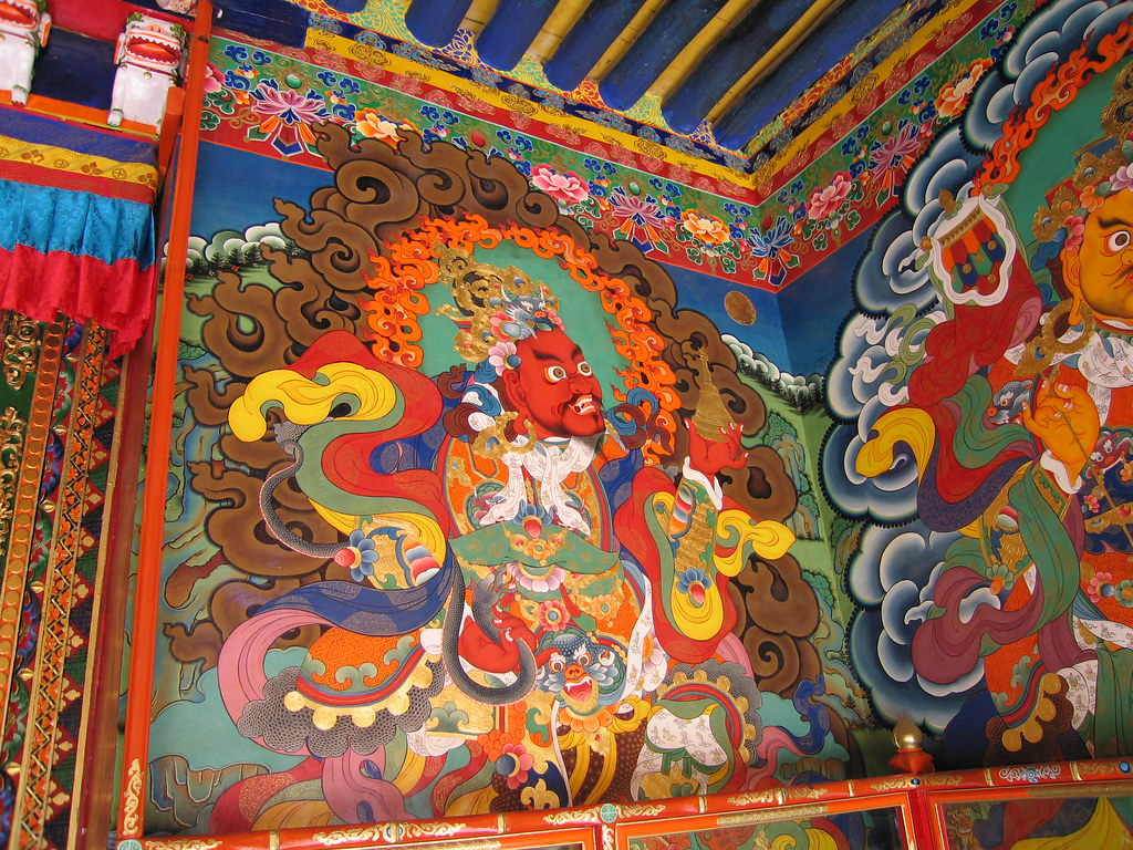 Buddhist painting at ganden monastery tibet this is one for A mural is painted on a