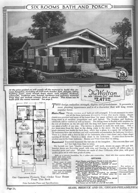 Sears modern homes the walton sears kit house the for House plan catalogs free