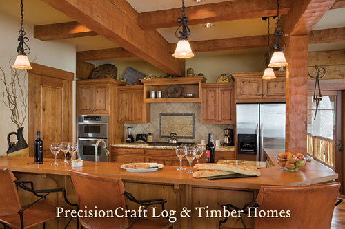 Log Home Timber Frame Hybrid Kitchen Tamarack Idaho