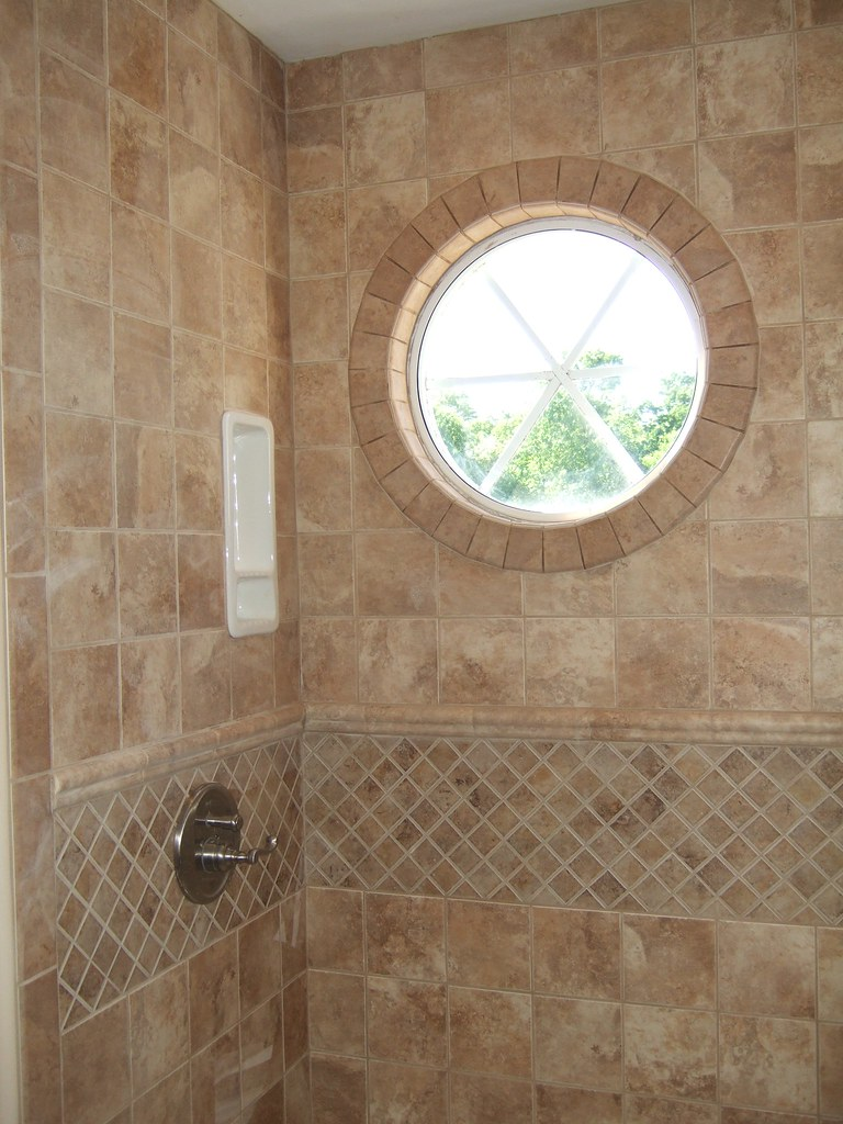 Shower tiled round window full for Bathroom remodel photo gallery