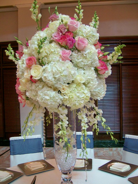 Pink and white crystal cascade centerpieces ritz flickr