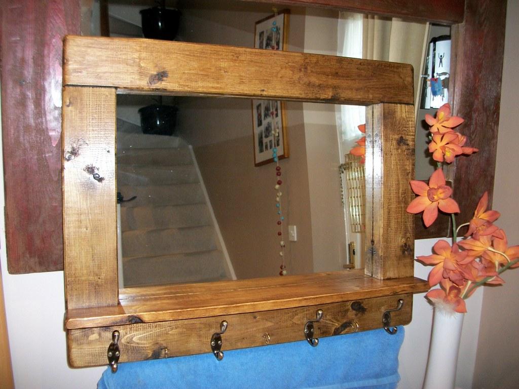 Rustic Wooden Mirror Coat Rack Dark Oak Wax Finish With
