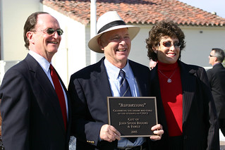 President Rush with artist Bud Bottoms and Mrs. Rush at Dolphin Fountain Dedication | by California State University Channel Islands