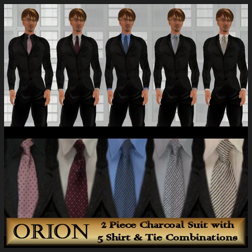 Orion charcoal suit 5 shirt and tie combinations flickr for Grey shirt and tie combinations