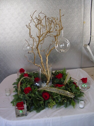 Gold branches centerpiece the glitter were