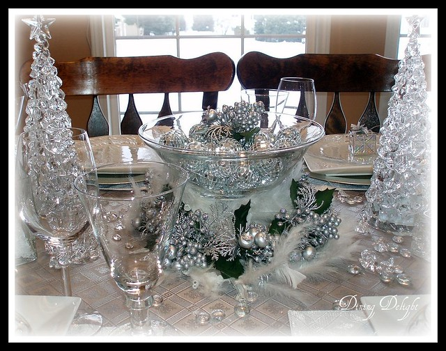 Christmas Tablescape A Centerpiece Is Created With A