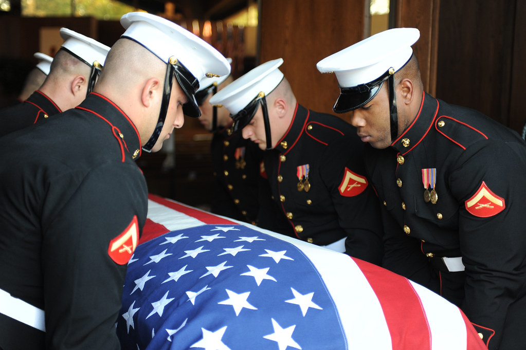 Marine Corps Body Bearers Lower A Casket Marine Corps