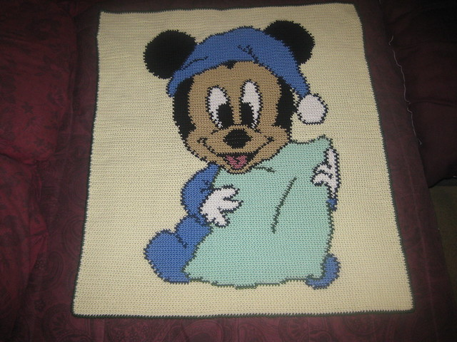 Mickey Mouse Crochet Baby Blanket Pattern : Baby Mickey Mouse crocheted baby afghan -- IMG_2222 ...