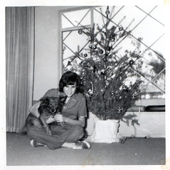 vintage: mom with christmas tree and dog | by freeparking :-|