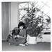 vintage: mom with christmas tree and dog