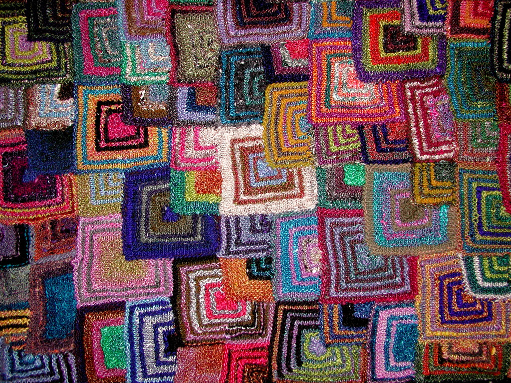 PATCHWORK KNITTING EP blanket close up. stash buster ...