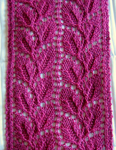 Knitting Patterns Leaf Lace : Liesel Lace Leaf Scarf Pattern: Liesel Pattern Source: A f? Flickr