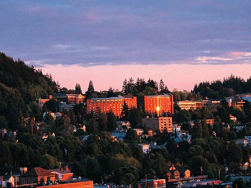 Sunset on Mathes and Nash | Both Mathes and Nash Hall have ...