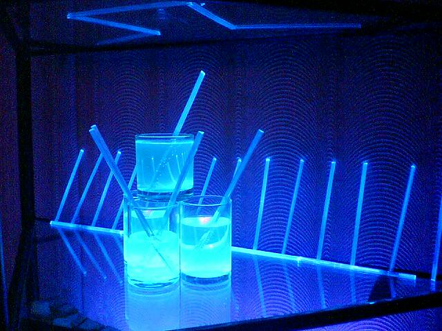 Fluorescent Blue | An ensemble of glass tumblers and ...