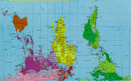 world map peters projection upside down by bigmick