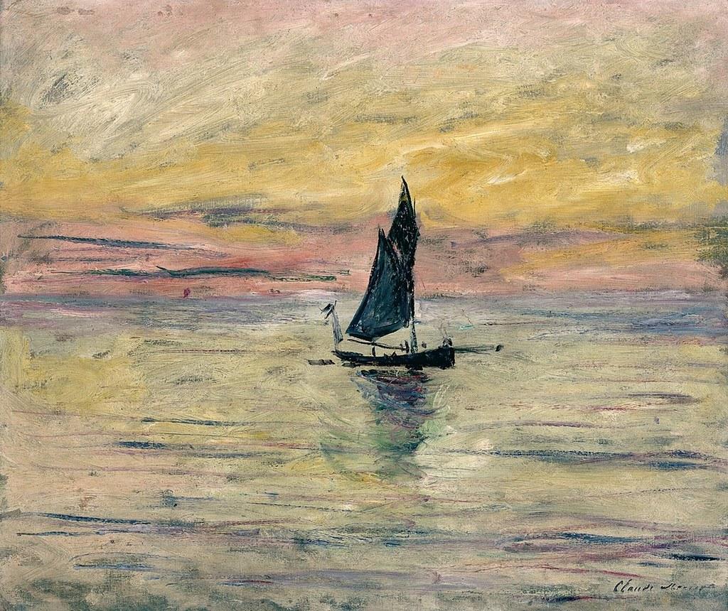 Le voilier effet du soir c monet w 1027 huile sur - Immagini da colorare la spiaggia ...
