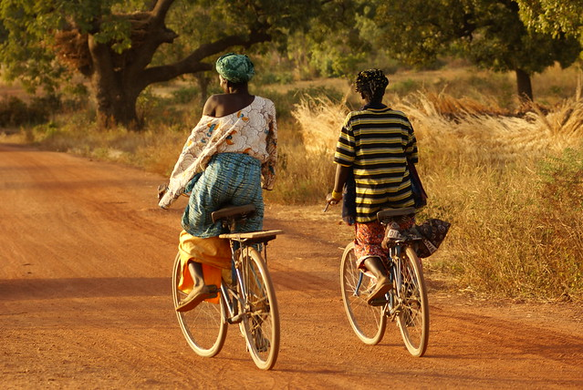 Riding bikes in Burkina Faso