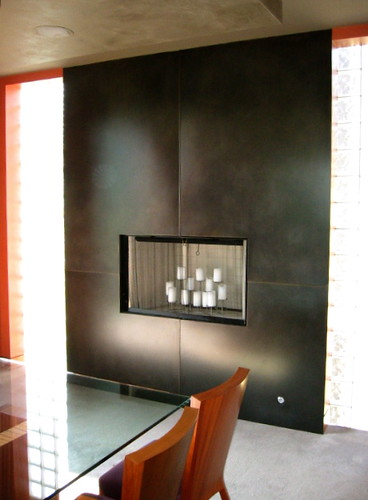 Blackened Steel Fireplace Surround For The Dining Room