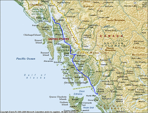 Alaska Inside Passage Image Map Actual Gps Global