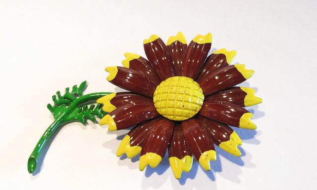 60 s flower power daisy pin enamel brown daisy on stem in flickr