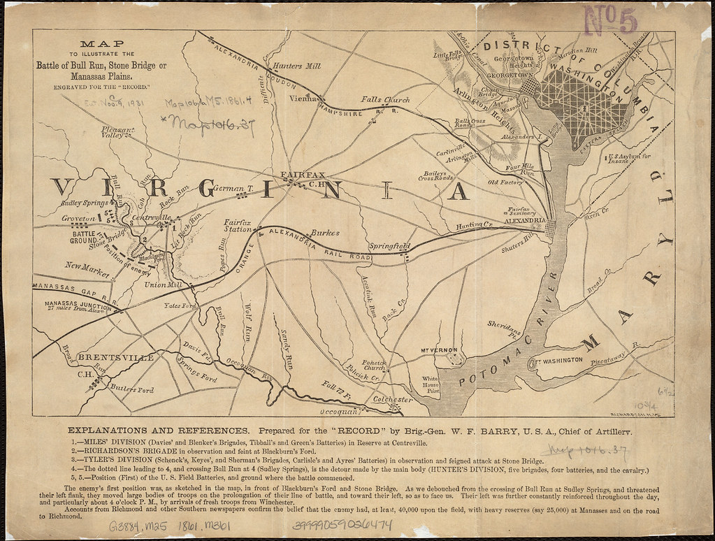 map to illustrate the battle of bull run stone bridge or