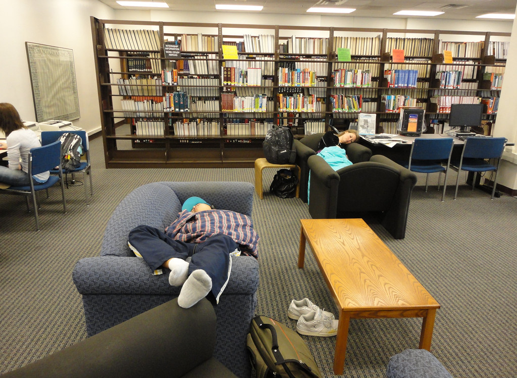 Image result for sleeping in library
