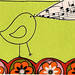 singing bird in retro flower garden ACEO