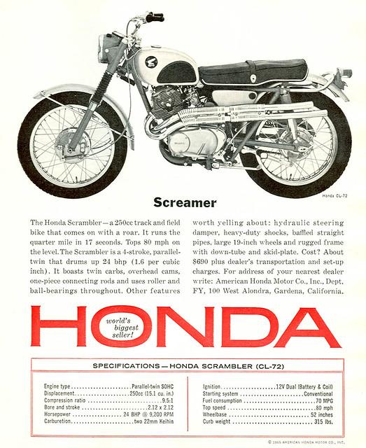 Honda Motorcycles 1965 Honda Cl 72 250 Scrambler Ad