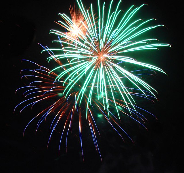 Red White Blue (and Green and Orange)   Fireworks from the ...