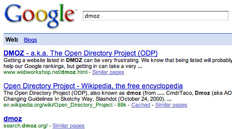 dmoz missing from google | by rustybrick