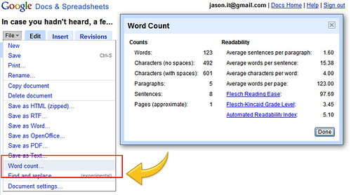 how to get the word count on google docs