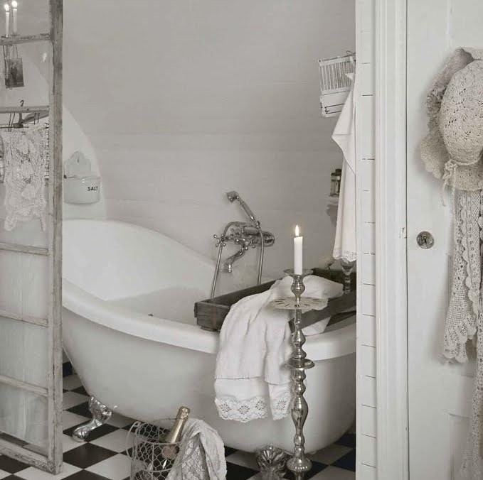 White Shabby Chic Country Style Romantic Bathroom Flickr
