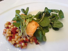 Atlantic salmon over israeli cousous salad and cress | by clotilde