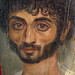 Mummy portrait of a thin-faced bearded man Egypt 160-180 CE Encaustic on limewood