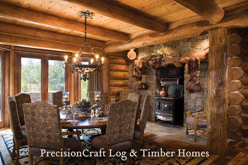 Dining room in a custom handcrafted log home located in for Dining room c house of commons