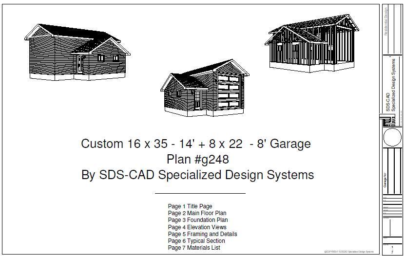 Download rv garage plans g248 16 x 35 x 8 x 22 14 rv ga for 50 x 60 garage plans