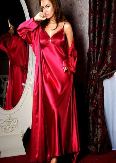 Red Satin Chemise And Wrap Sabrina Satin Flickr