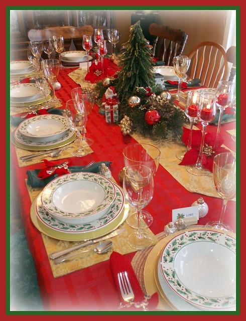 Christmas Table Setting Table Is Set For Christmas Eve