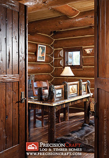 Handcrafted Log Home Office | by PrecisionCraft Log & Timber Homes