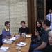 Lunch: Dan's Cap, Anne's Stripes,Will Considering, Rita & Paul Chatting, Waiter Waiting, Valerie Smiling: 2010.10.25
