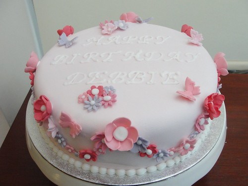 Simple Flower Birthday cake with some butterflies.  by Anges Cakes ...