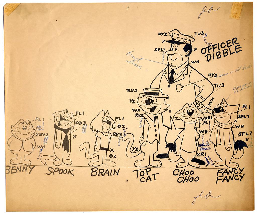 Top Cat cast model sheet | Cast: Benny, Spook, Brain, Top ...